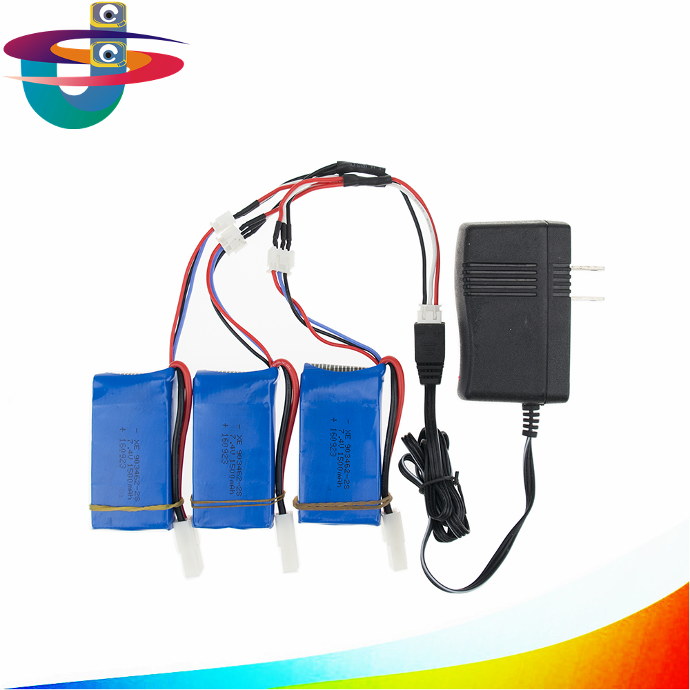 Lipo battery 7.4v 2s 1500mAh batteries 3pcs and charger for Feilun FT009 2.4G RC Racing boat Spare Parts wholesales lipo battery 7 4v 2500mah for mjx f45 f645 t23 rc parts helicopter battery can add 3in1 charger f45 22 extra spare toys