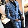 Designer Patter Check Suit Slim Fit Costume Homme Mariage Vestito Uomo Smoking 4XL Plaid Check Suit