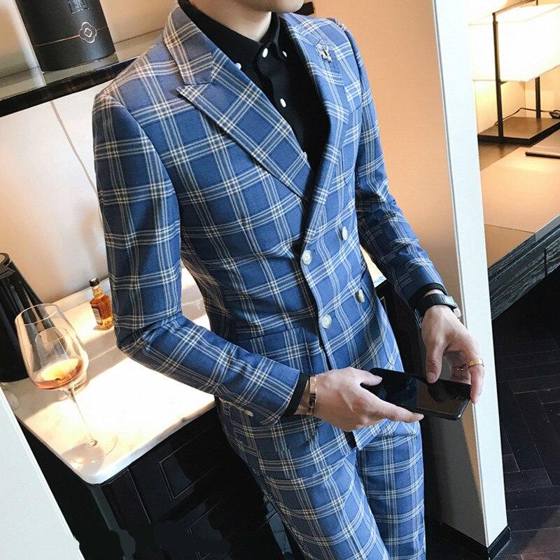Designer Patter Vérifier Costume Slim Fit Costume Homme Mariage Vestito Uomo Fumer 4XL Plaid Vérifier Costume Dernières Manteau Pantalon Designs