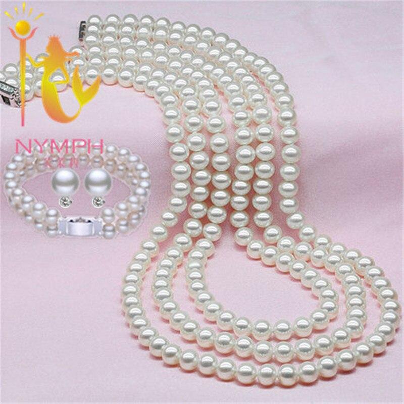 Ensembles de perles de bijoux nymphe, ensembles de perles d'eau douce naturelles, collier classique, boucles d'oreilles et Bracelet, meilleur cadeau pour vous, livraison gratuite