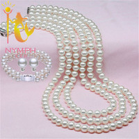 NYMPH Jewelry Pearl Sets,Natural Freshwater Pearl Sets,Classical Necklace,Earrings and Bracelet,Best Gift For You,Free Shipping