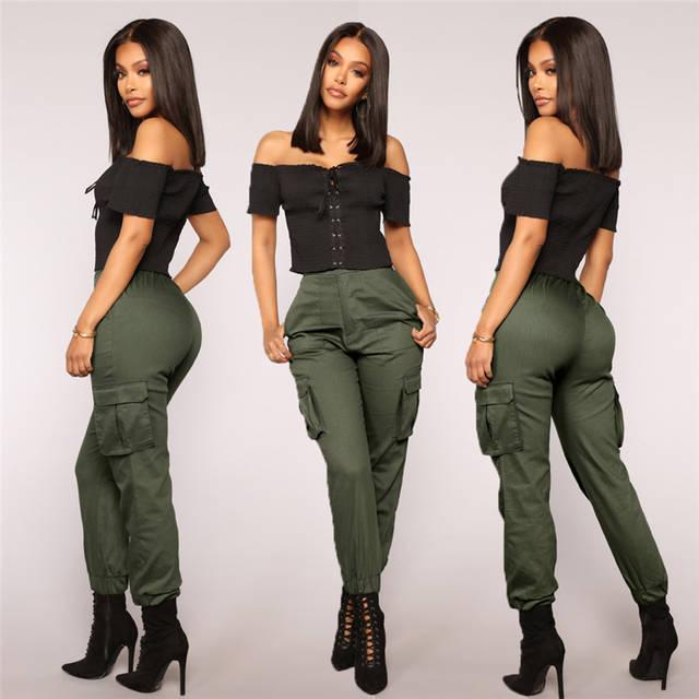40ff0f36b52 Online Shop Streetwear Cargo Pants Women Casual Joggers Black Fashion High  Waist Loose Female Trousers Korean Style Ladies Pants Capri