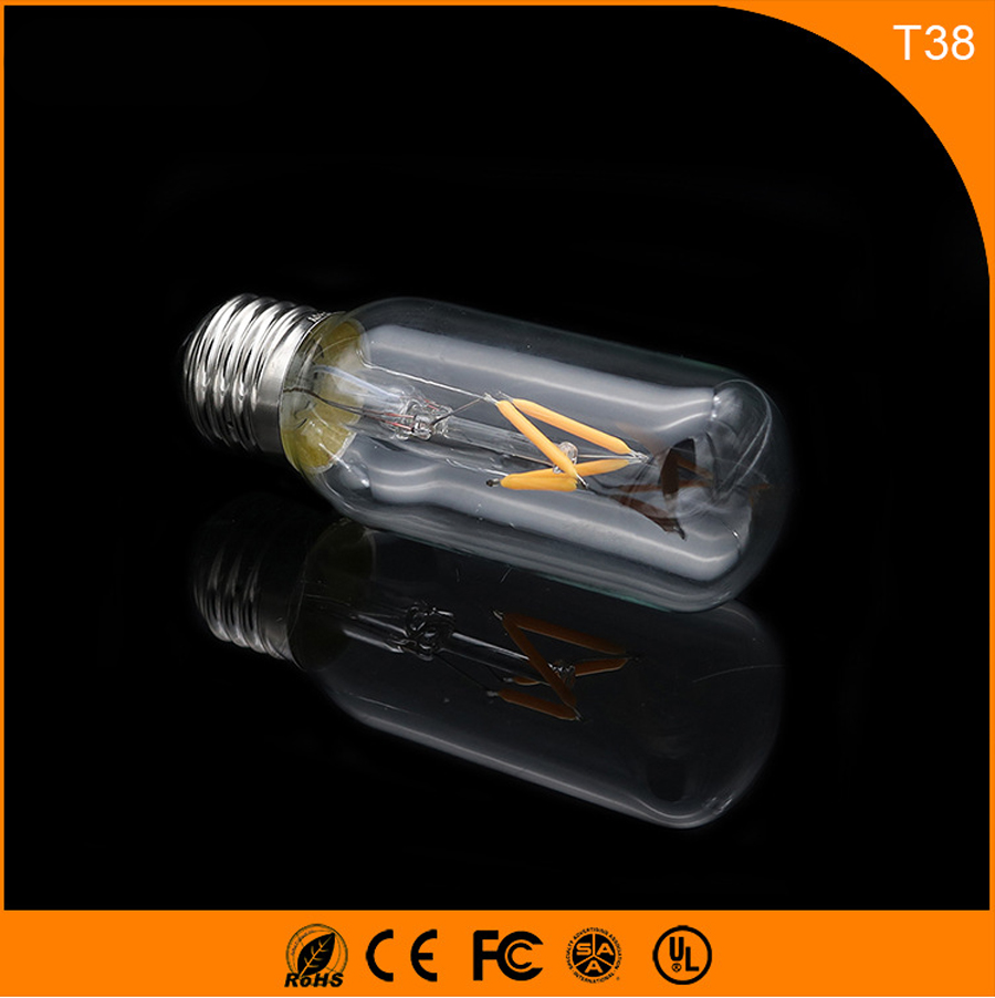 50PCS 2W E27 B22 Led Bulb, T38 LED COB Vintage Edison Light ,Filament Light Retro Bulb AC 220V запонка arcadio rossi запонки со смолой 2 b 1026 20 e