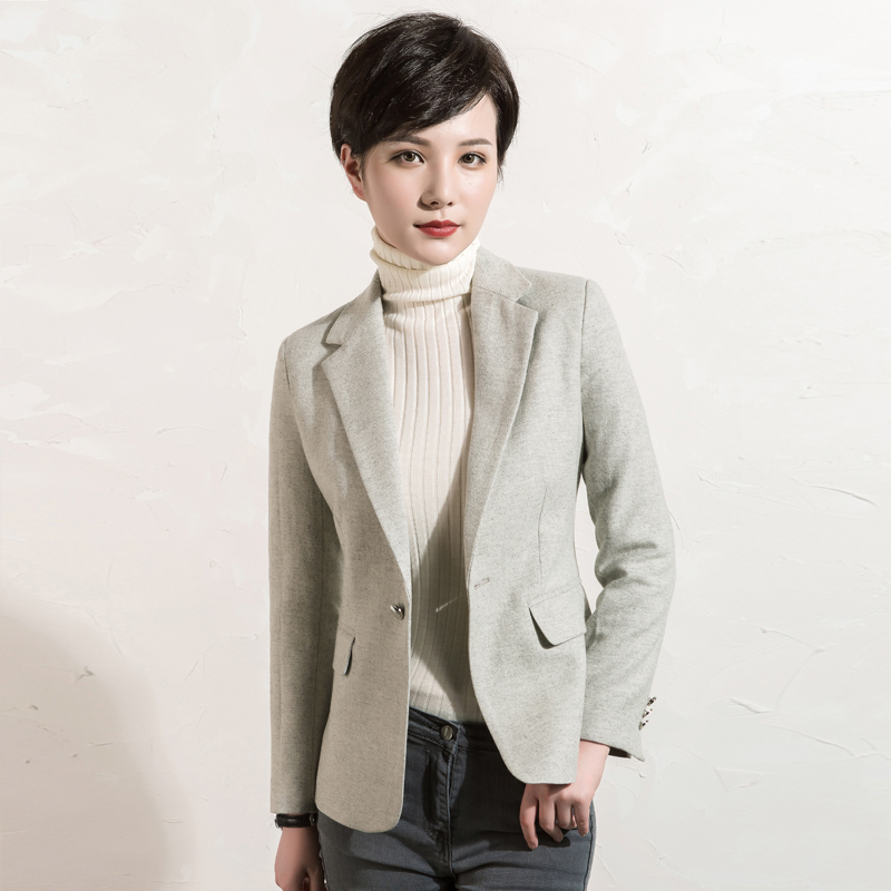 Blazers Women 50 Wool Classic Design Solid Pockets Single Button 2 Colors Ladies Office Work Clothing