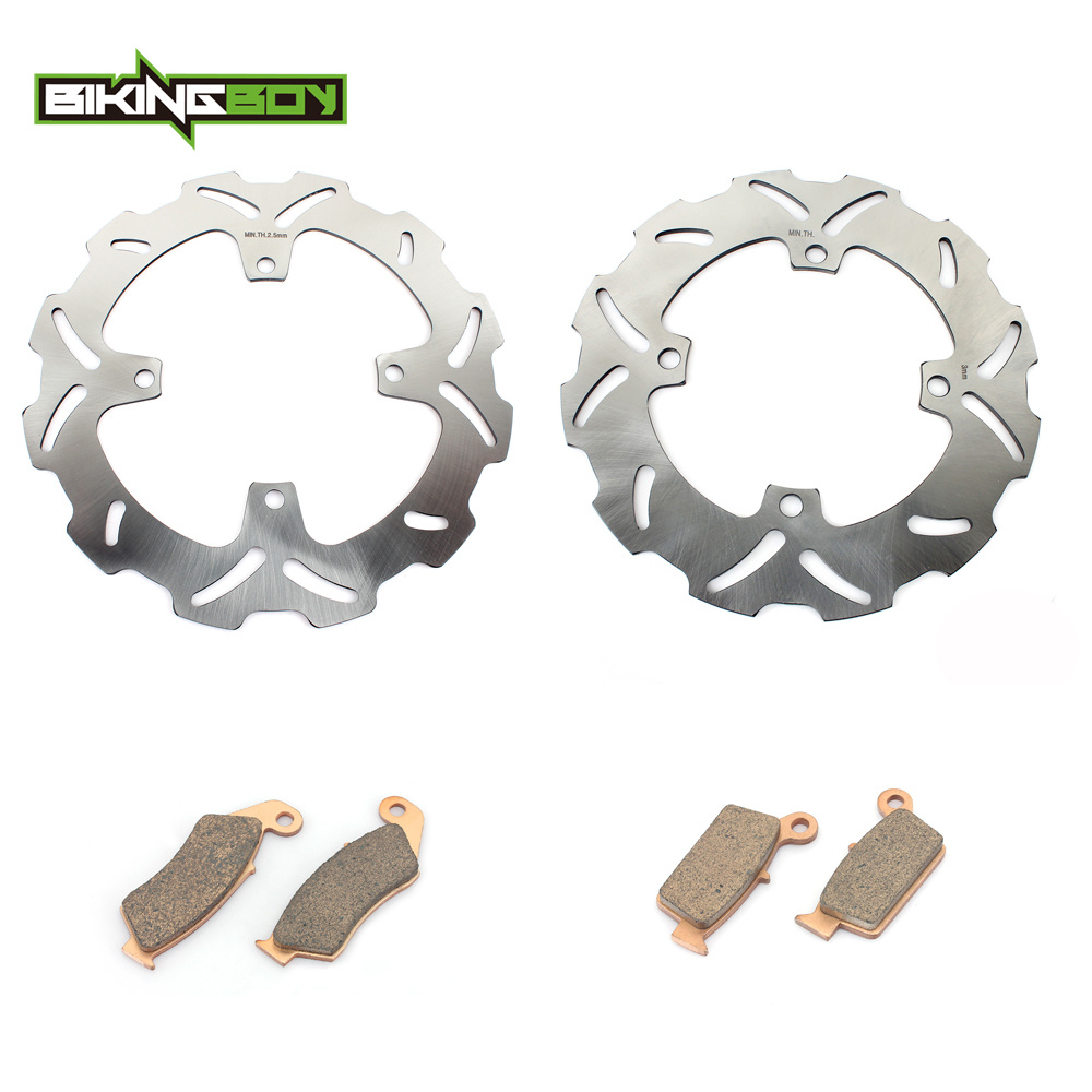 BIKINGBOY Motocross Front Rear Brake Disk Disc Rotor Pad for KAWASAKI KXF250 KXF450 KXF 250 450 KX250F KX450F 06-14 13 12 11 10