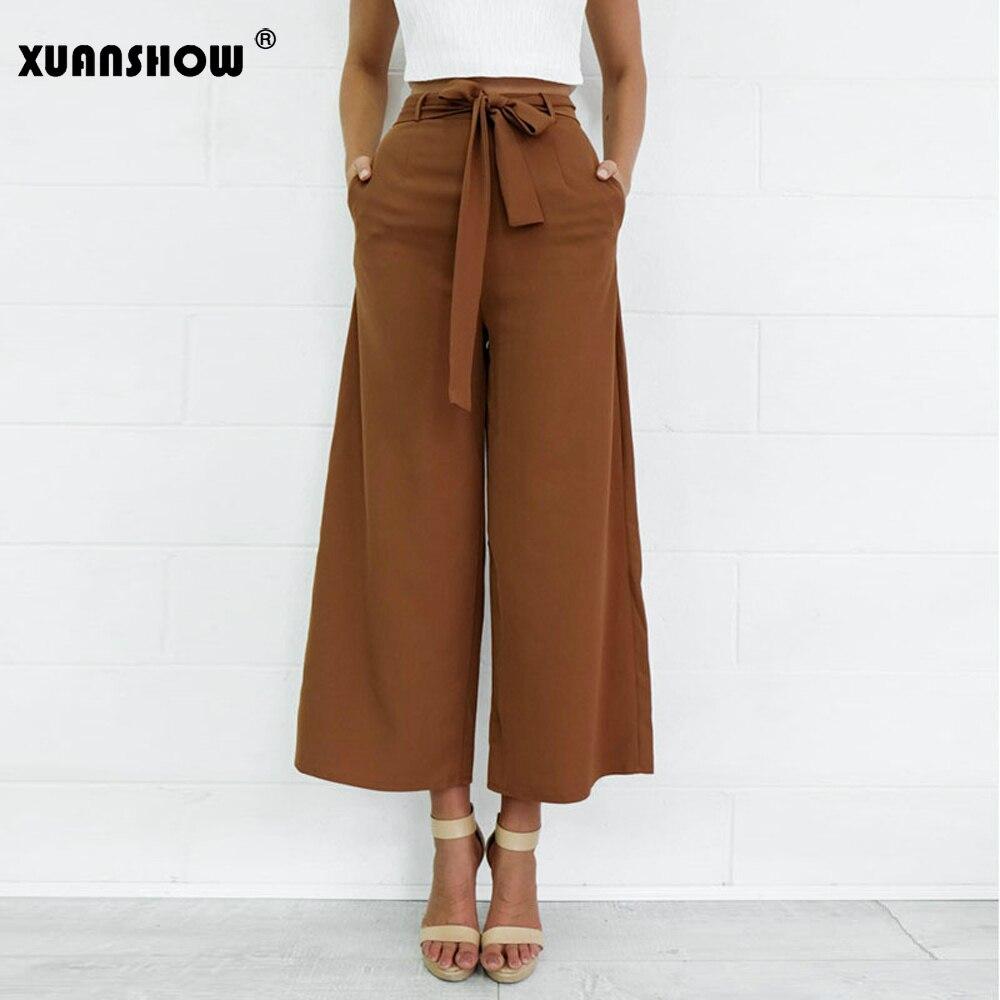 XUANSHOW Pantalones Mujer 2019 Fashion Drawstring Zipper   Wide     Leg     Pants   Women Summer Ladies High Waist Office Harajuku Trousers