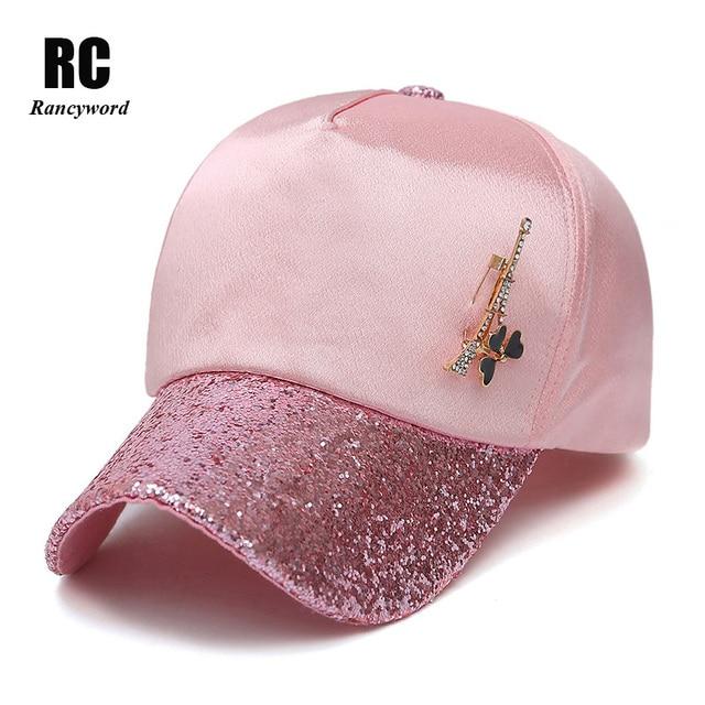 Rancyword  Nueva Moda Snapback Caps Gorra de Béisbol de Las Mujeres Ladise  Femenina Paillette e08fe60ff4d2