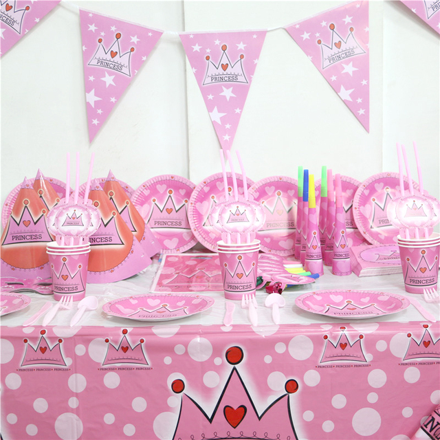 Baby Shower Napkins Birthday Party Decoration Princess Flags Kids Favor  Tablecloth Crown Straws Supplies Plates Cups