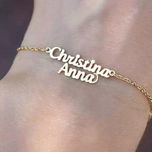 Personalized Double Name Bracelet Custom Gold Stainless Steel Two Names Rose Bijoux Femme For Women collier arabe