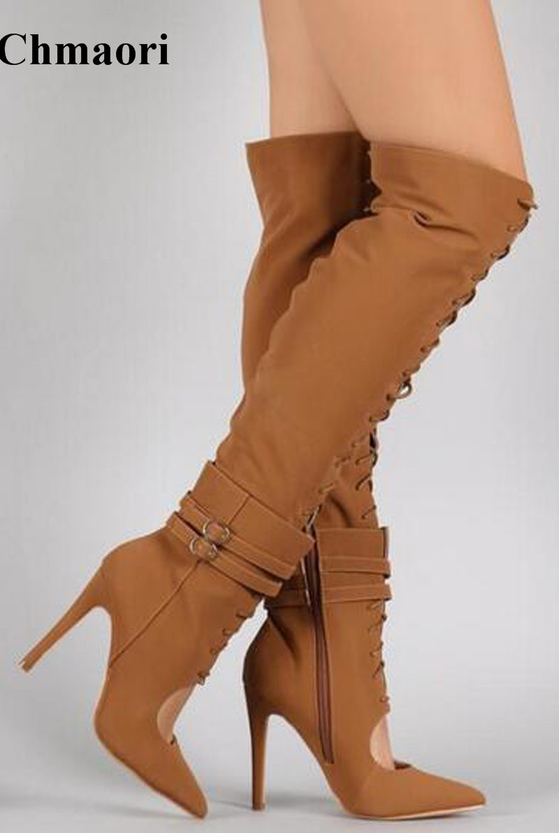 New Arrival Women Winter Fashion Pointed Toe Suede Leather Over Knee Gladiator Boots Cut-out Lace-up High Heel Long Boots цена
