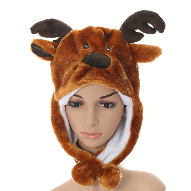 DOUBCHOW 2017 Cute Plush Brown Reindeer Earflap Animal Hat for Teenagers Children Kids Girls Christmas Gift Adults Winter Beanie super cute plush toy dog doll as a christmas gift for children s home decoration 20