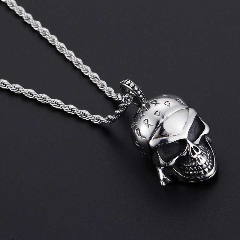 TrustyLan Cool Punk Rock 3D Skeleton Skull Necklaces Pendants