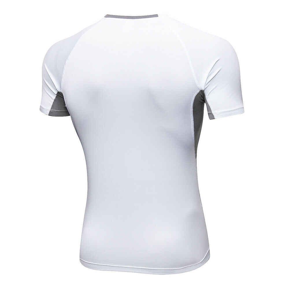 Los hombres deportes camiseta de verano de culturismo Fitness entrenamiento músculo Tee Tops Causal O cuello negro blanco camiseta ropa deportiva