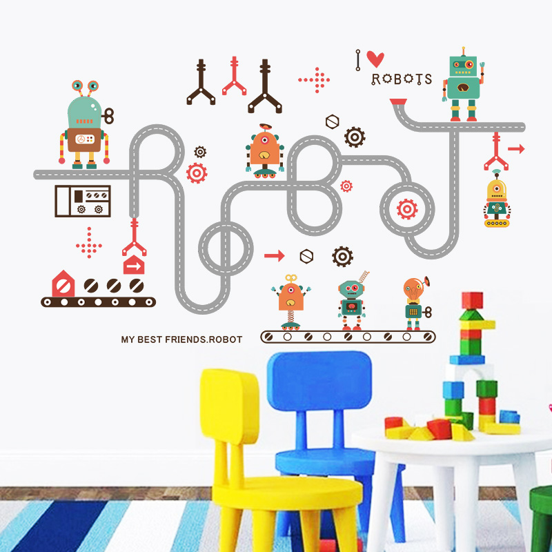 I love robots funny wall sticker for kids baby nursery for Robot baby room decor