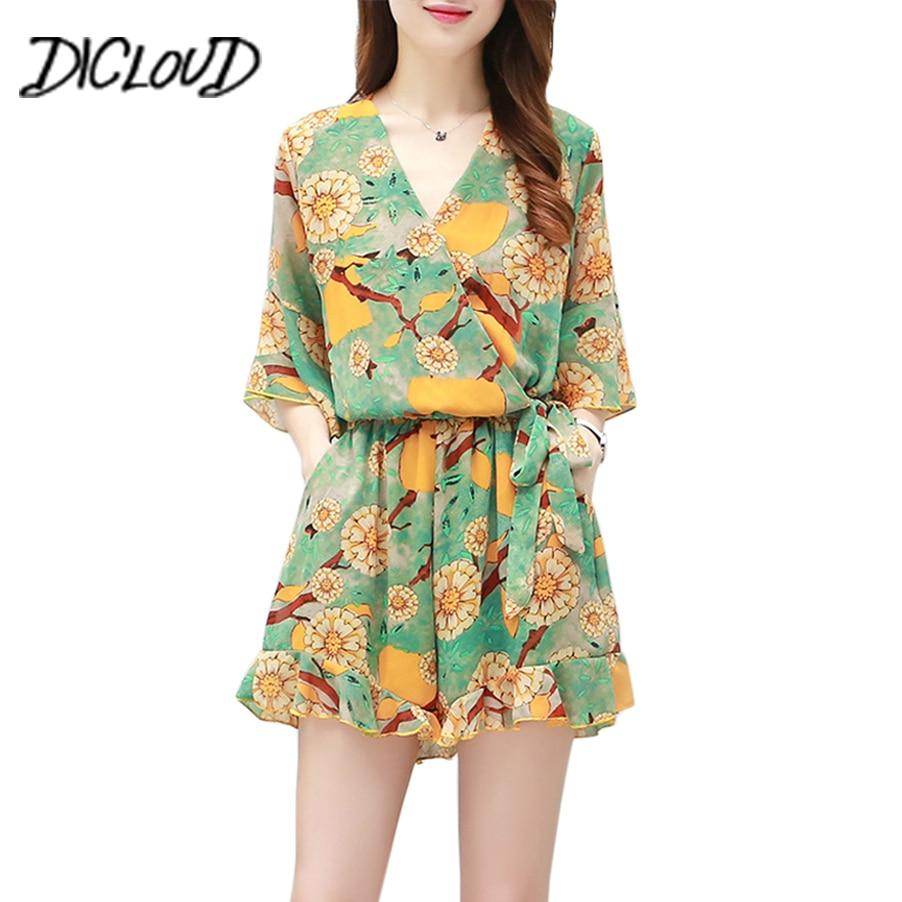 DICLOUD Flower Print Summer Jumpsuit Women High Waist Chiffon Boho Rompers Female V-Neck Plus Size Beach Sexy Playsuit 3XL 2018
