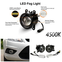 For Ford Nissan 2012 2015 Car 16W LED DRL Dual Lens Front Fog Lamp Driving Light