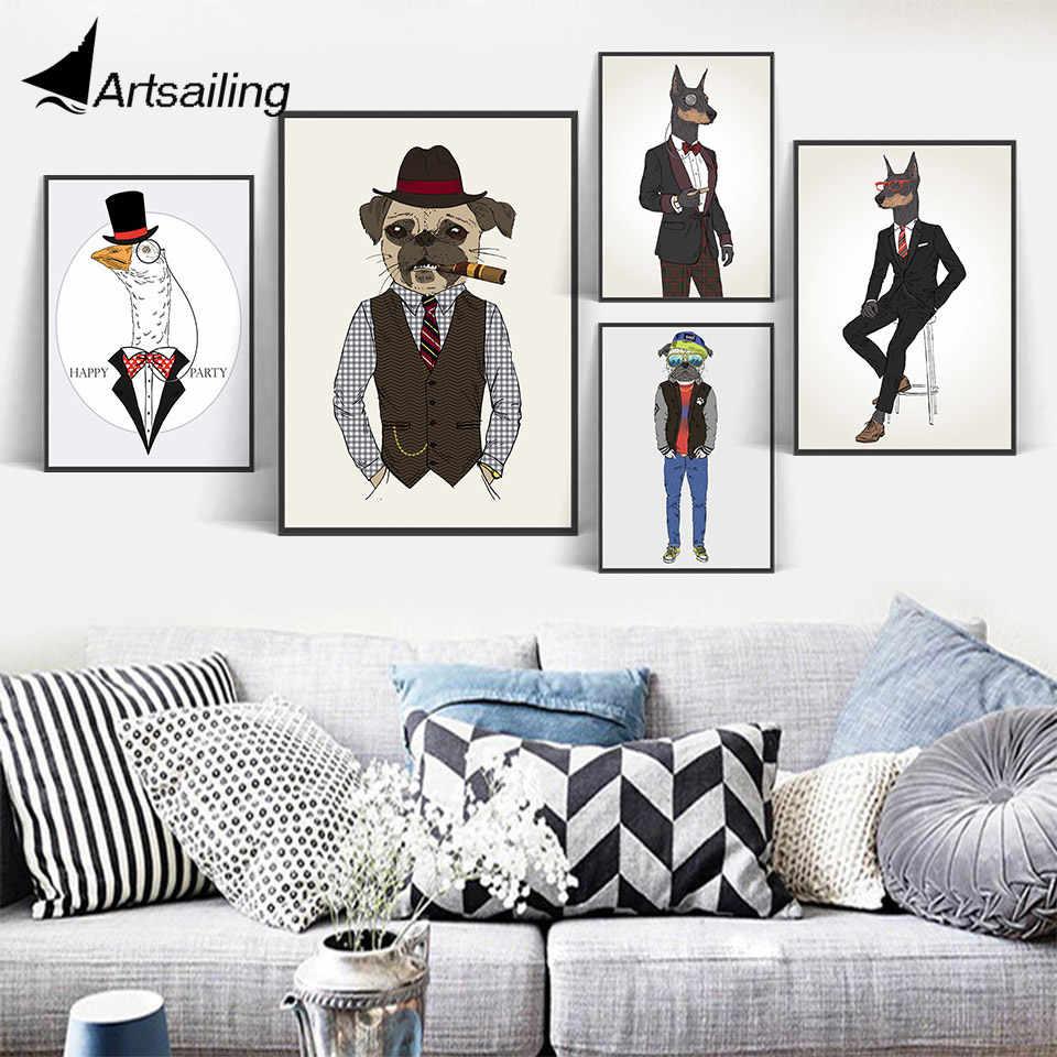Imágenes de la pared del cartel de impresión del arte de la lona de los animales del pato nórdico moderno para la decoración del hogar pintura sin marco