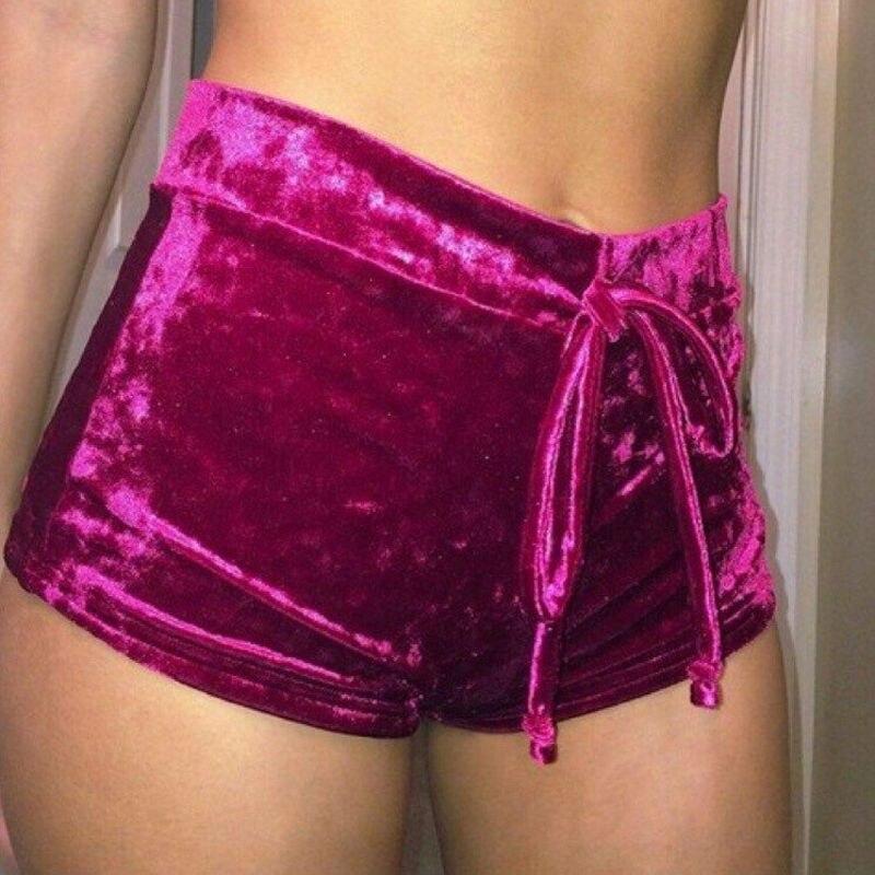 2018 Women Velvet Shorts Fashion Little Thing Womens Ladies Retro Velvet Pink Wine Red Crushed Runner Fashion Shorts Hot Sale
