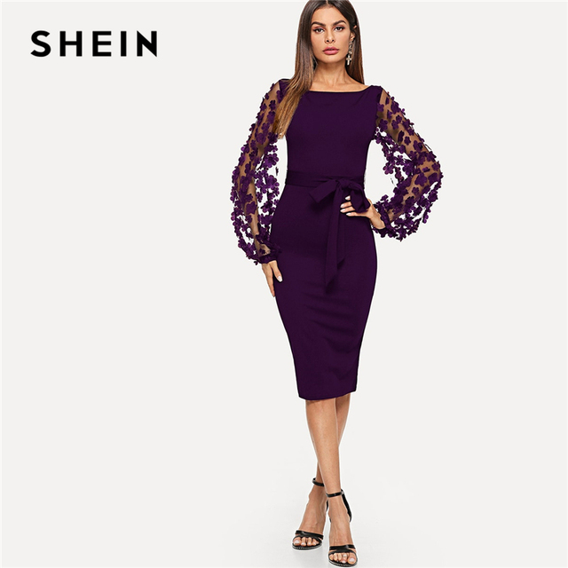 SHEIN Purple Party Elegant Solid Flower Applique Mesh Sleeve Form Fitting  Skinny Pencil Dress Autumn Office d7e6d3750