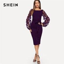 SHEIN 紫パーティーエレガントな固体花アップリケメッシュスリーブフォーム鉛筆のドレス秋のオフィスの女性のドレス