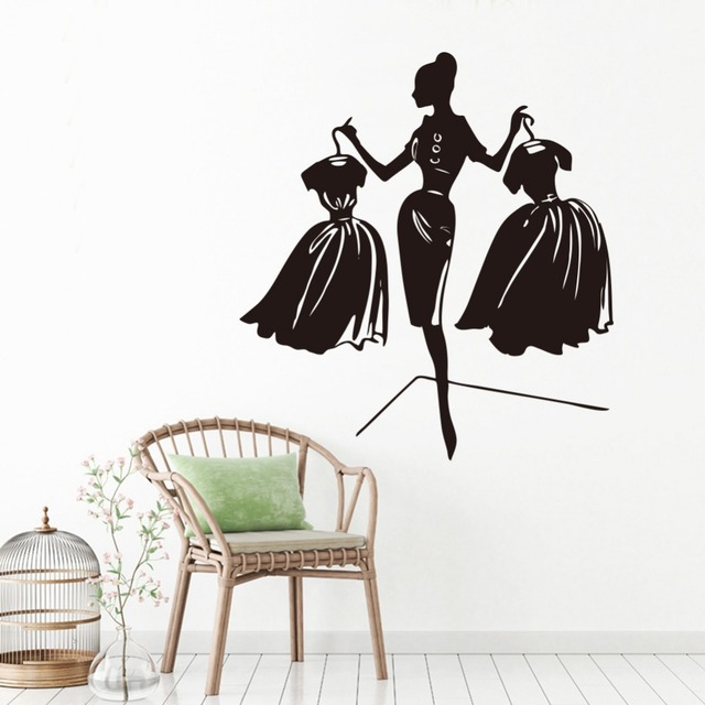 Vinilos De Moda.9 31 30 De Descuento Moda Girl Vinilo Adhesivos Compras Ventana Fondos Adhesivos De Pared Decoracion Para El Hogar Salon Mural En Pegatinas De
