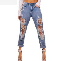 Rock Queen Big Hole Boyfriend Jeans With Beaded Ripped Chain Jean Women Extreme Cut Up Jean Punk Denim Elastic Straight Cut Pant