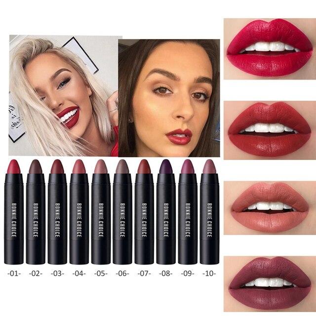 בוני הבחירה 10 צבעים מט נשים שפתון עמיד למים לטווח ארוך גותי עלה קטיפה שפתון עט אדום שפתיים יופי