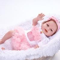 55 CM Handmade Reborn Babies Dolls Realistic Reborn Baby corpo inteiro de silicone Dolls For Girls