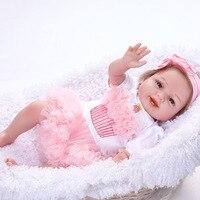 55 см ручной работы Reborn Куклы Реалистичная возрождается Corpo inteiro де силиконовые Куклы для Обувь для девочек