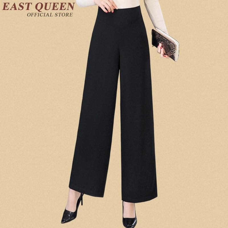 Palazzo Señoras Elegantes 1 Negro Oficina Mujeres 2 Sexy Aa2984 Pantalón Culotttes 3 Otoño Baggy Pantalones Ancho 5HTpqww