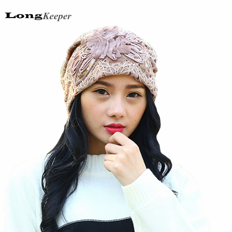 LongKeeper Lace Flower Hats Casual Bling Cap Elegant Spring Autumn Vintage Skullies Feminina Beanies Hats for Women GL-F0055 leather skullies cap hats 5pcs lot 2278