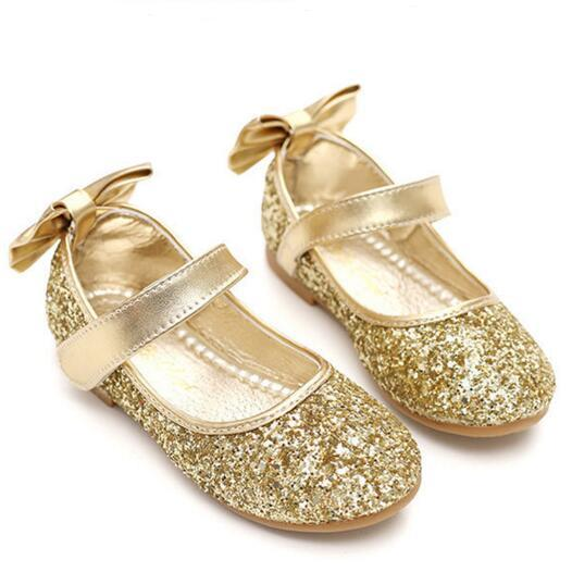 NEW Fashion Glitter Hook & Loop Casual Children Shoes Girls Bowtie Flats Princess Leather Shoes Kids Sneakers 03