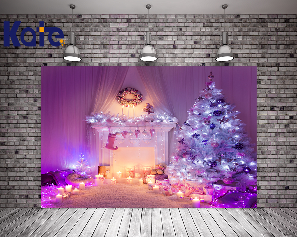 Indoor Fireplace Christmas Tree Photography Background: Kate Violet Indoor Warmth Christmas Fireplace Background