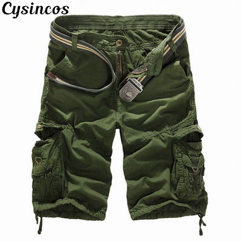 CYSINCOS Cargo Shorts No-Belt Zipper Military Male Plus-Size Camouflage Casual Cotton