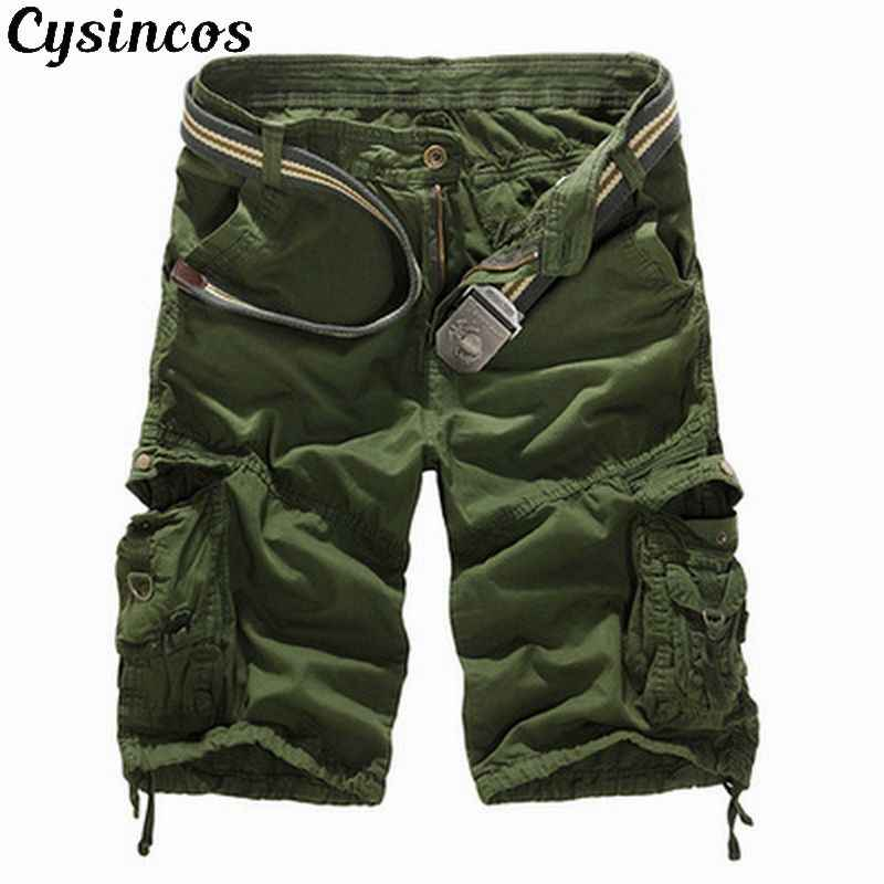 CYSINCOS Camouflage Cargo Shorts Men 2019 Casual Cotton Shorts Male Zipper Shorts Male Military Short Pants Plus Size No Belt