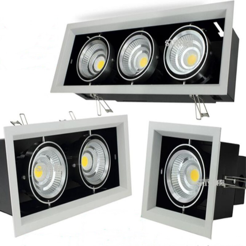 Hot sale Double COB Led down lamp 10W 20W 30W LED ceiling grille lamp double COB down lamp AC110 240V White Black shell in Downlights from Lights Lighting