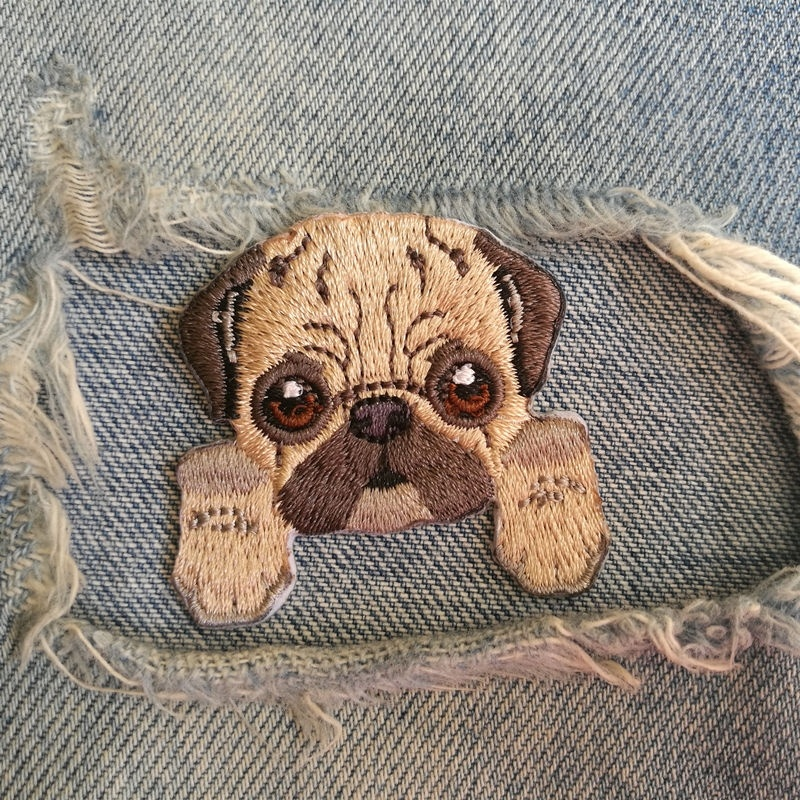1 PIC 4.5*4.1CM LOVELY Embroidered Cloth Embroidery PASTE DIY Pug DOG Badge Decorative Patch