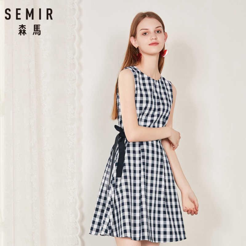 SEMIR платье без рукавов для женщин 2019 летнее Новое Стильное хлопковое клетчатое популярное ретро французское платье для женщин