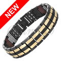 Channah 2017 Bangle Men Titanium Bracelet 2-Tone Gold Black 4in1 Magnets -ve Ions Germanium Far Infra Red Free Shipping Charm