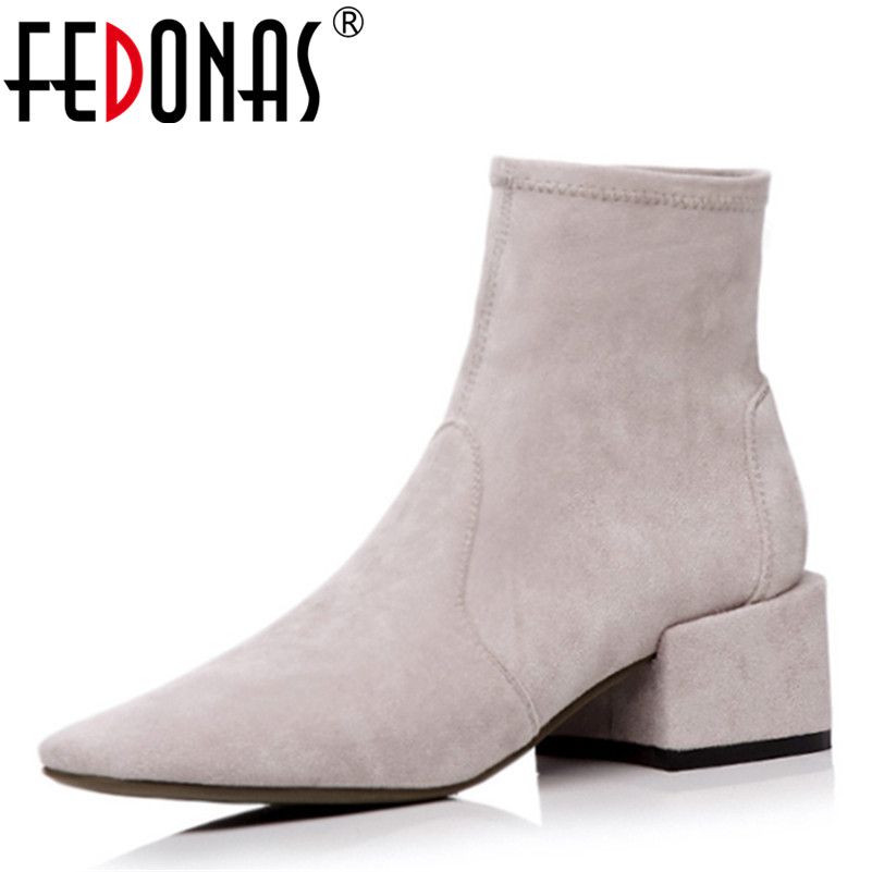 FEDONAS New Women Socks Ankle Boots Solid High Heeled Martin Shoes Woman Pointed Toe Autumn Winter Warm Motorcycle Boots fedonas retro ruffels women shoes woman wedges high heeled warm autumn winter motorcycle boots fashion new round toe martin shoe