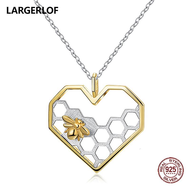 LARGERLOF 925 Sterling Silver Pendant Necklace Women Fine Jewelry Bee Pendant Heart Necklace For Women PD41048 cute women s beads flower bee pendant necklace