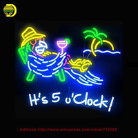 It S 5 O Clock Somewhere Parrot Neon Sign Neon Bulbs Room Recreation Real Glass Tube