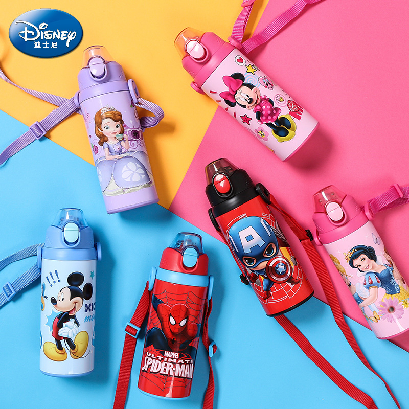 500ML Insulated Bottle Baby Cup Water Drinking Bottle Micky Minnie Thermos Flask Portable Child Feeding Cup Baby Travel School 500ml double wall vacuum insulated water bottle with cover