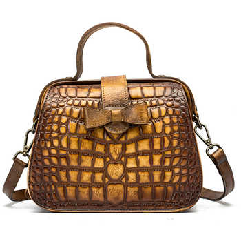 New Women Messenger Shoulder Bags Cross Body Crocodile Pattern Handbag Genuine Leather Small Tote Purse Vintage Top Handle Bag - DISCOUNT ITEM  32% OFF All Category