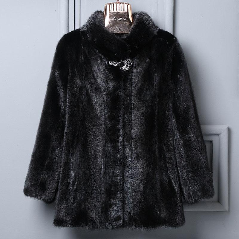 2019 hiver nouveau manteau de fourrure de vison réel femmes col montant pleine fourrure de vison noir col court mode simple et élégant manteau