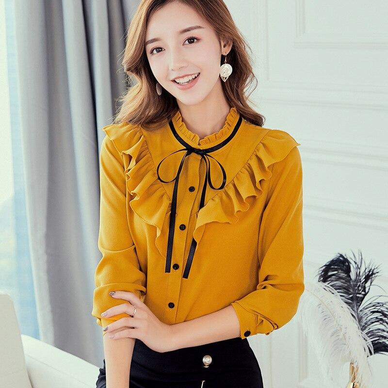 Ruffled Collar Bow Neck Blouse Korean style Long Sleeve Autumn Winter Shirts Office Lady Women Tops Plus Size Female Clothing
