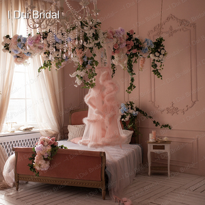 Image 5 - Марабу халат с румянами и розовыми перьями, Свадебный халат из тюля, иллюзия, свадебный подарок, одежда для церемонии, вечерний Халат