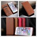 Para iphone 6 plus negócio forte magnético couro genuíno da pele de carneiro grain phone case capa para iphone 6 s plus com cartão slot