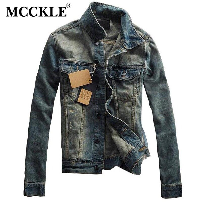 MCCKLE Vintage Mens Ripped Denim Jacket Designer Fashion Washed Slim Fit Jean Jackets Man Turn Down