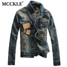 MCCKLE Vintage Herren Ripped Denim Jacke Designer Mode Gewaschen Slim Fit Jean Jacken Mann Drehen Unten Kragen Lässig Veste Homme